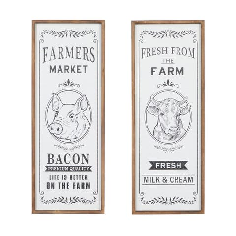 """Tall Rectangular Black And White Farmhouse Signs With Natural Wood Frame Set Of 2 12"""" X 31.5"""""""