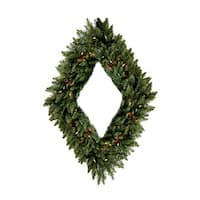 "42"" Pre-Lit Camdon Fir Diamond Shaped Artificial Christmas Wreath - Multi Lights - green"