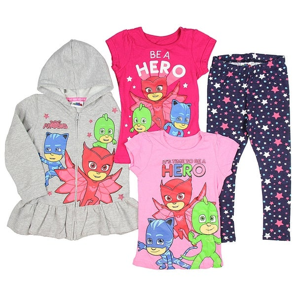 PJ Masks Girlsu0026#x27; Hoodie With 2 T Shirts And Pants Ultimate Clothing