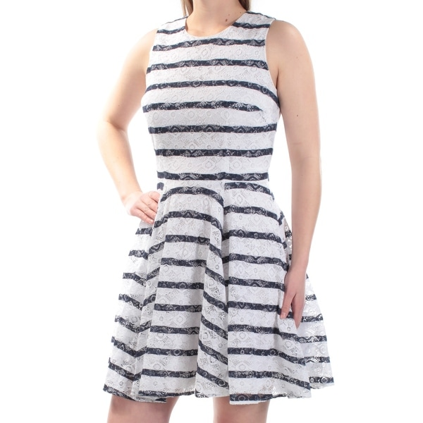 7c06f8acfb Shop MAISON JULES Womens Navy Lace Striped Sleeveless Jewel Neck Above The  Knee Fit + Flare Dress Size: M - Free Shipping On Orders Over $45 -  Overstock - ...