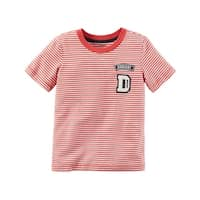Carter's Baby Boys' Striped Ringer Tee, 24 Months - Red