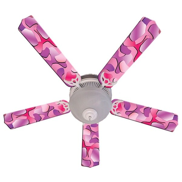 Pink Camouflage Designer 52in Ceiling Fan Blades Set - Multi