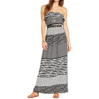 Trixxi Womens Juniors Maxi Dress Ruffled Striped