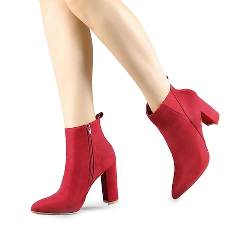 Women's Pointed Toe Zipper Block Heel Ankle Boots