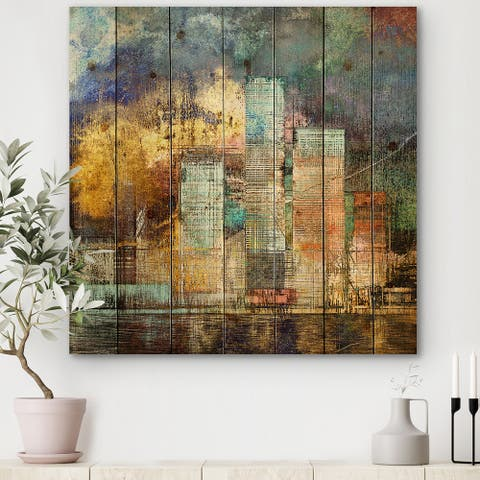 Designart 'Cityscape Of Skyscrapers In Modern City II' Modern Print on Natural Pine Wood