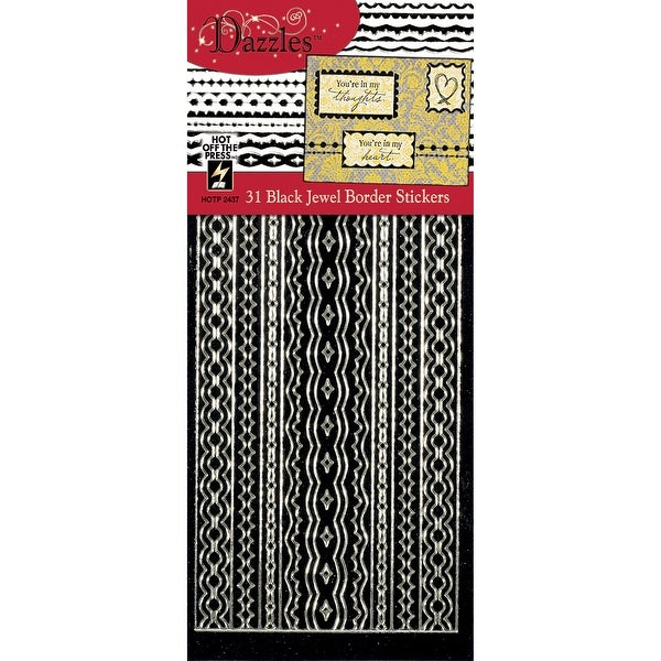 Dazzles Stickers-Jewel Borders-Black - Black
