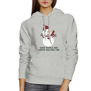 Worth Melting For Snowman Hoodie Gift Unisex Grey Winter Fleece