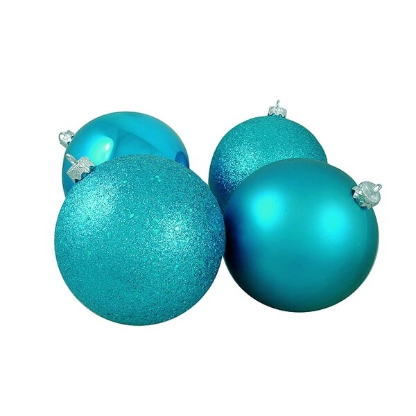 """12ct Shatterproof Turquoise Blue 4-Finish Christmas Ball Ornaments 6"""" (150mm)"""