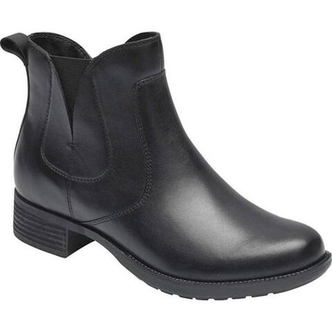 Rockport Women's Copley Waterproof Chelsea Boot Black Burnish Waterproof Leather