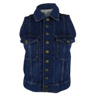 NY Collection Women's 100% Cotton Denim Vest - XS