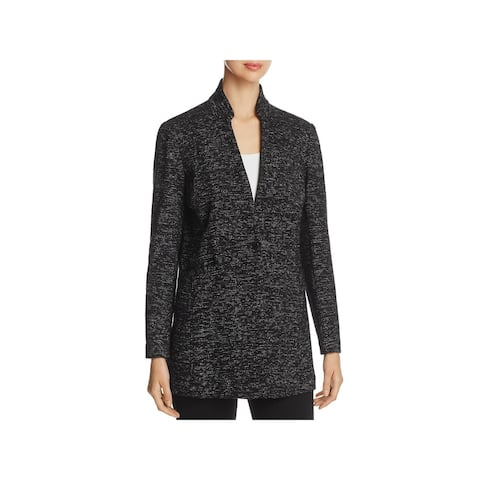 Eileen Fisher Womens One-Button Blazer Speckled Long