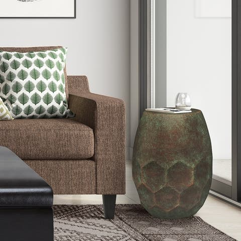 WYNDENHALL Cristy Industrial 16 inch Wide Metal Accent Side Table, Fully Assembled - 16 W x 16 D x 19.5 H