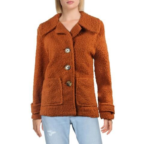 Free People So Soft Women's Faux Shearling Notched Lapel Warm Winter Teddy Coat