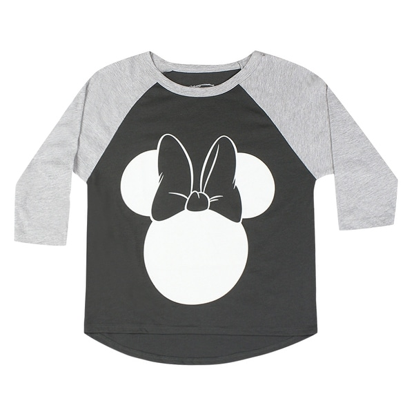 Shop Disney Minnie Mouse Face White Silhouette Black Ribbon Women s Grey T- shirt - Free Shipping On Orders Over  45 - Overstock - 19760094 157ee961c3