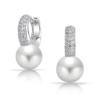 Bling Jewelry CZ Round White Imitation Pearl Small Hoop Earring Rhodium Plated Brass