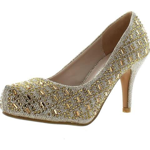 Bella Luna Myra Sparkle Crystal Gem Rhinestone Glitter Mesh Formal Evening Dress Pumps