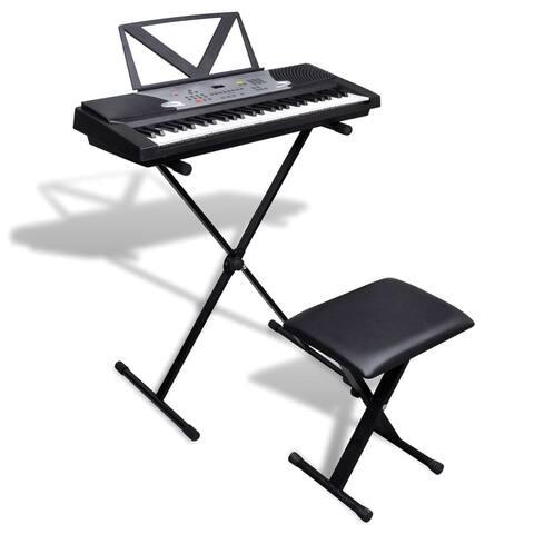 Electronic Keyboard Kit 54-Key Digital Piano w/ X-Style Keyboard Stand and Stool