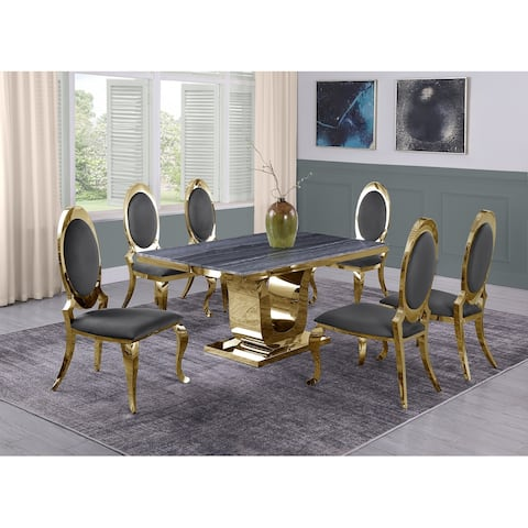 Best Quality Furniture Grey Marble 5 or 7pc Sets w/Stainless Steel