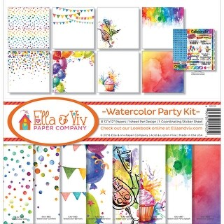 "Ella & Viv Collection Kit 12""X12""-Watercolor Party"