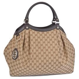 Gucci 364840 Large Brown Canvas GG Guccissima Sukey Purse Bag Tote