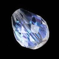 Czech Fire Polished Glass Beads 10mm x 12.5mm Teardrop Crystal AB (4)