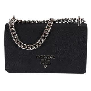 e45b114fb480 Prada 1BD144 Pattina Soft Calf Saffiano Leather Crossbody Small Chain Purse  - Black | Overstock.com Shopping - The Best Deals on Designer Handbags