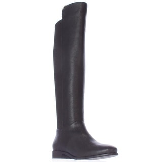 Cole Haan Dutchess Over The Knee Back Stretch Motorcycle Boots - Black