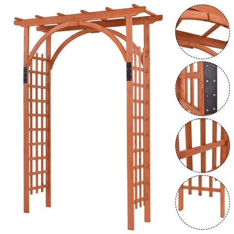 Costway Premium Outdoor Wooden Cedar Arbor Arch Pergola Trellis Wood Garden Yard Lattice
