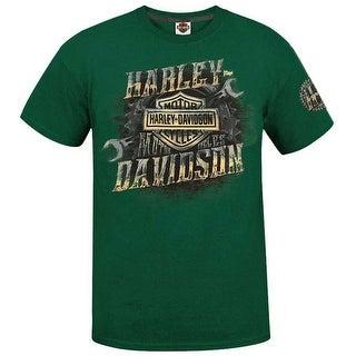 Harley-Davidson Men's Swift Clutch Short Sleeve Crew Neck Tee, Green 5L0H-HF5Y