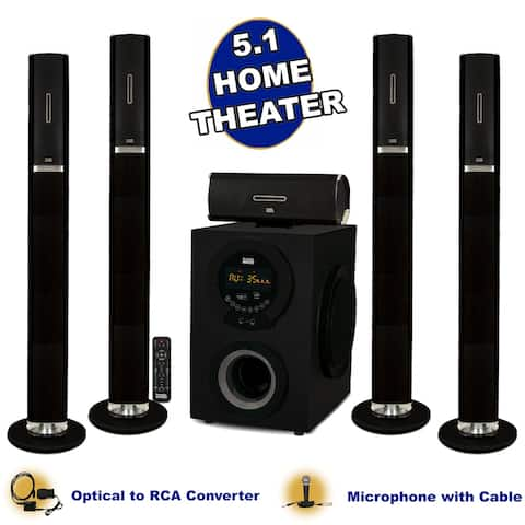 Acoustic Audio AAT3002 Tower 5.1 Bluetooth Speaker System w/ Optical Input & Mic