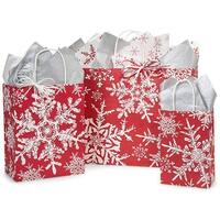 Pack Of 125, Assortment Christmas Snowflakes Red Paper Shopping Bag 50 Rose, 50 Cub & 25 Vogue Made In Usa