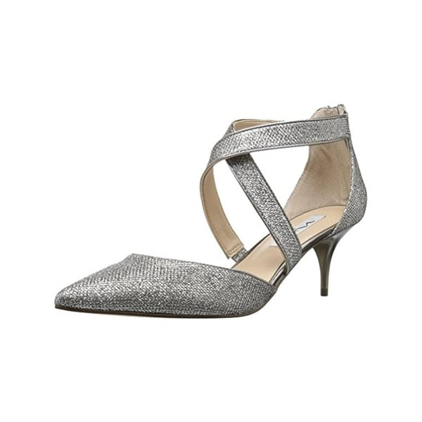 Nina Womens Tessie Kitten Heels Pointed Toe Evening Silver 6.5 Medium (B,M) - 6.5 medium (b,m)