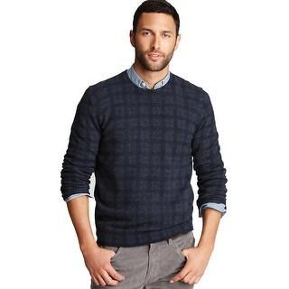 Bloomingdales Mens Pure Cashmere V-Neck Plaid Sweater XX-Large 2XL Blue Denim