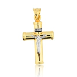 10K Yellow Gold Tow Tone Crucifix Pendant 33mm Tall
