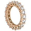 14K Rose Gold 5.10 cttw. Round Diamond Eternity Ring HI,SI1-2 - Thumbnail 2