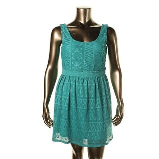 As U Wish Womens Juniors Casual Dress Eyelet Smocked - S