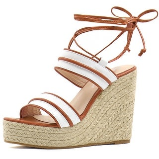 Link to Women Striped Ankle Tie Espadrille Wedge Sandals Similar Items in Women's Shoes