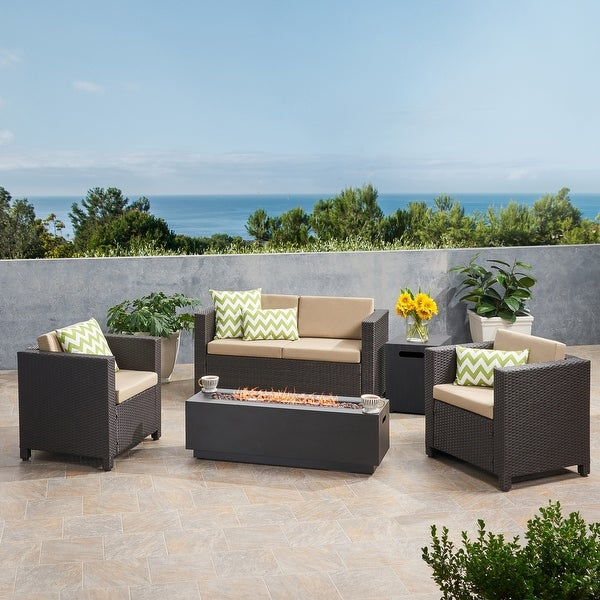 Glenbar 4 Seater Wicker Chat Set with Fire Pit by Christopher Knight Home. Opens flyout.