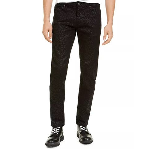INC International Concepts Men's Slim Fit Animal Print Jeans Black Size 34X32