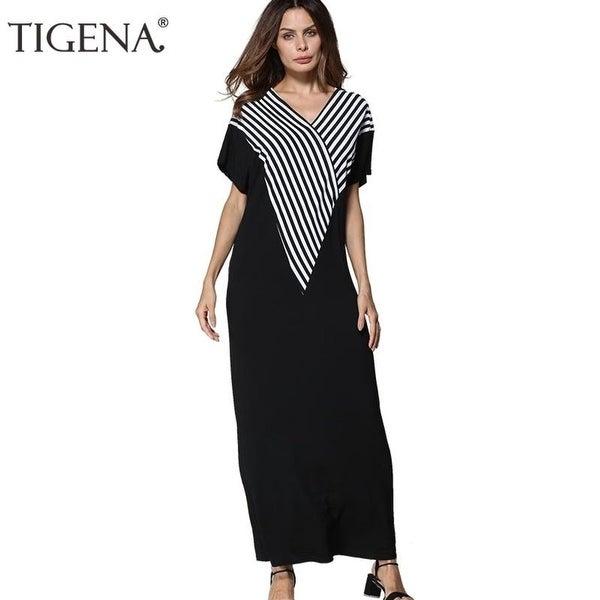 2a635880508 Tigena Loose Striped Summer Dress Women 2018 Floor Length Dresses Big Sizes Long  Maxi Dress Summer