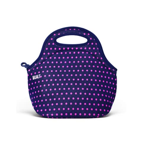 BUILT NY Gourmet Getaway Neoprene Reusable Insulated Lunch Tote -Mini Dot Navy