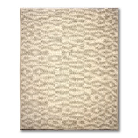 Hand-Knotted Geometric/ Graphic Design Ivory,Grey Oriental Wool Modern Oriental Area Rug (10x14) - 10' x 14'