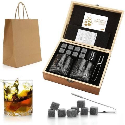 Whiskey Stones Gift Set - Whiskey Glass Set of 2 - Granite Chilling Whiskey Rocks - Scotch Bourbon Whiskey Glass Gift Box Set