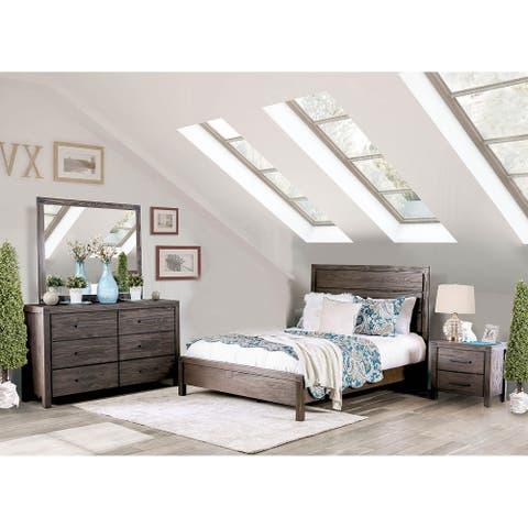 Wooden 4 Piece Queen Bedroom Set in Wire-Brushed Rustic Brown