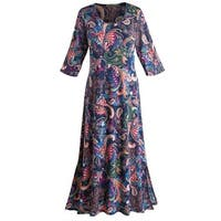"Women's Paisley Passion Maxi Dress - 3/4 Length Sleeve - 50"" Long"