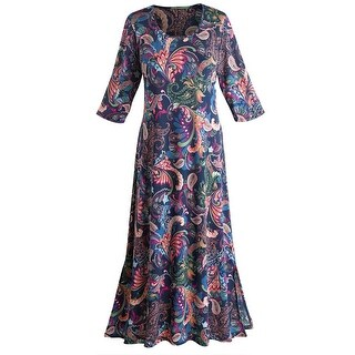 """Women's Paisley Passion Maxi Dress - 3/4 Length Sleeve - 50"""" Long (3 options available)"""