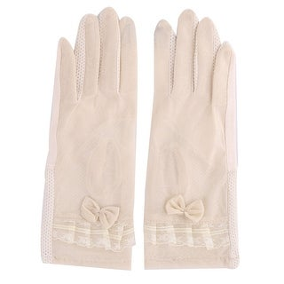 Lady Summer Lace Bowknot Decor Anti Slip Ride Car Sunscreen Thin Gloves Pair