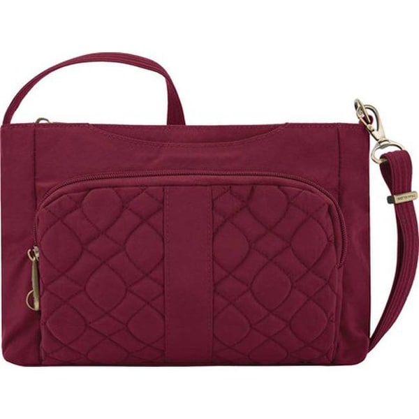 dc607eefaccb Shop Travelon Anti-Theft Signature Quilted East/West Slim Bag Ruby ...