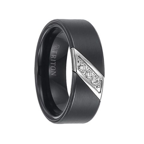 ROLF Flat Black Satin Diamond Setting Tungsten Wedding Ring by Triton Rings - 8mm