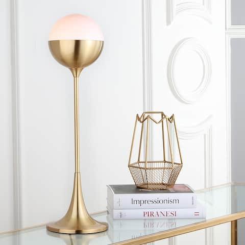 "SAFAVIEH Lighting 27-inch Lando Brass Gold LED Table Lamp - 8""x8""x27"""